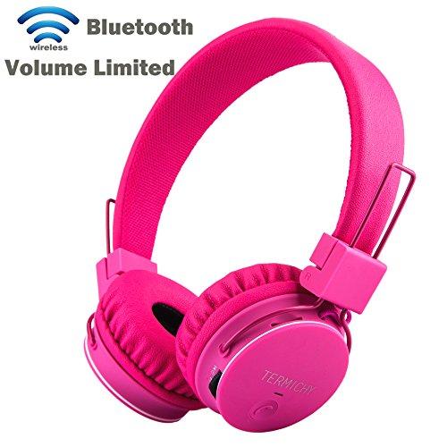Bluetooth Kopfhörer für Kinder,Faltbare Tragbare Bluetooth Headset,Termichy Wireless/ Verdrahtet Dual- fähig On Ear Stereo Kopfhörer Unterstützung MicroSD-Karte/FM-Radio,Eingebautes Mikrofon für die Freisprechfunktion,Rosa