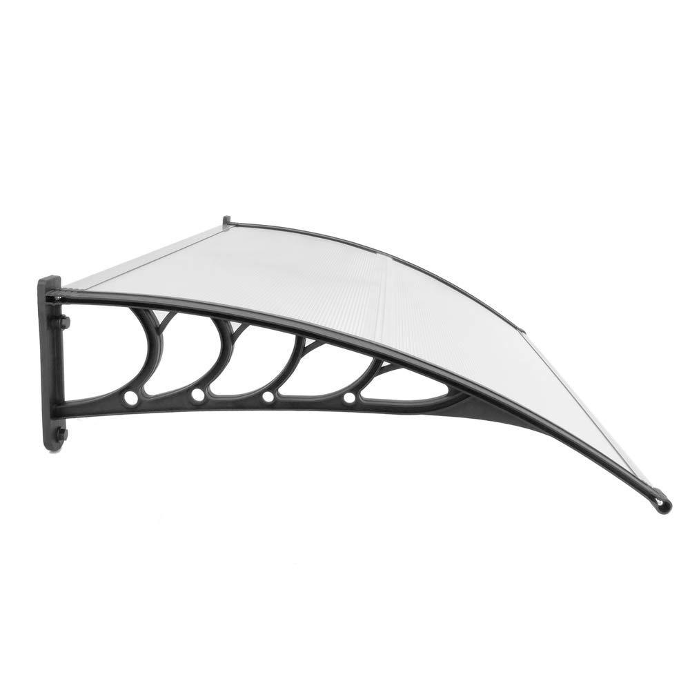 Tejadillo de protecci/ón 120x90 cm Transparente PrimeMatik Marquesina para Puertas y Ventanas con Soporte Blanco