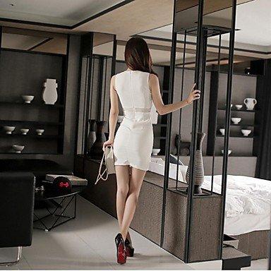PU&PU Robe Aux femmes Moulante Simple,Couleur Pleine Col Arrondi Au dessus du genou Coton / Polyester , white , xl