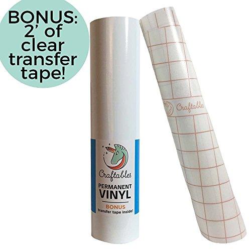 Craftables White Vinyl Roll - Permanent, Adhesive, Glossy & Waterproof   12