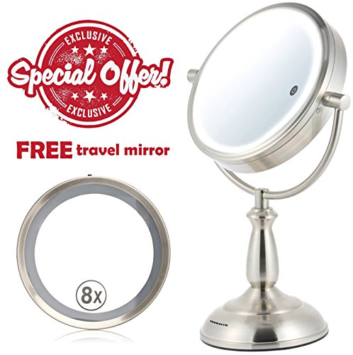 Cheap Ovente SmartTouch 3 Tone LED Makeup Mirror, Tabletop Vanity Mirror, 1x/10x Magnification, 8.5 Inch, Nickel Brushed