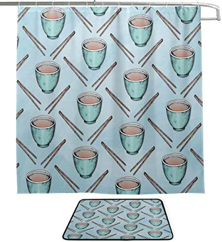 XINGCHENSS Chopsticks Chinese Cuisine Kitchenware Single-Sided Printing Shower Curtain and Non-Slip Bath Mat Rug Floor Mat Combination Set with 12 Hooks for Bathroom Decor and Daily Use