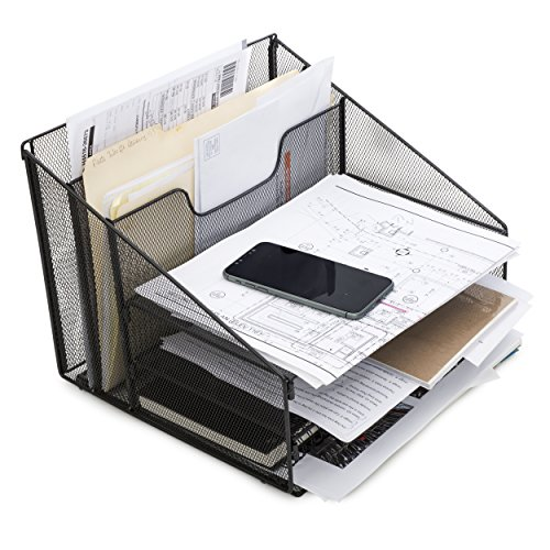 Desktop File & Letter Organizer Metal Paper Sorter Tray For Notes, Papers, Books & Folders by GetSet2Save