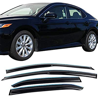 Window Visor Compatible With 2020-2020 Toyota Camry | Acrylic Unpainted Air Deflector Sun Rain Guard 4pcs With Chrome Trim by IKON MOTORSPORTS | 2020: Automotive