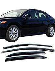 Window Visor Compatible With 2018-2020 Toyota Camry | Acrylic Unpainted Air Deflector Sun Rain Guard 4pcs With Chrome Trim by IKON MOTORSPORTS | 2019