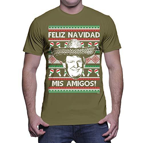 Men's Trump Feliz Navidad Mis Amigos T-Shirt (Olive, Small)