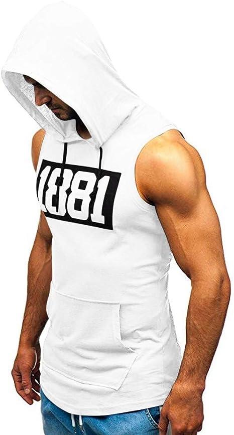 Luckycat Camiseta con Capucha de Tirantes Deportes para Hombre, Tops Camisa sin Mangas de Verano Fitness Camiseta Lisa sin Mangas de Corte Entallado para Hombre: Amazon.es: Ropa y accesorios