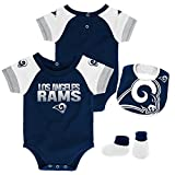 NFL by Outerstuff NFL Los Angeles Rams Newborn & Infant 50 Yard Dash Bodysuit, Bib & Bootie Set Dark Navy, 18 Months
