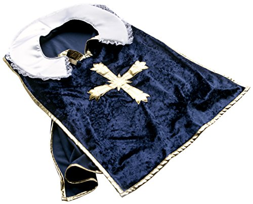 Liontouch Musketeer Cape, Blue/Gold, One Size ()