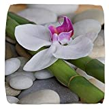 13 Inch 6-Sided Cube Ottoman Orchid Bamboo and River Stones
