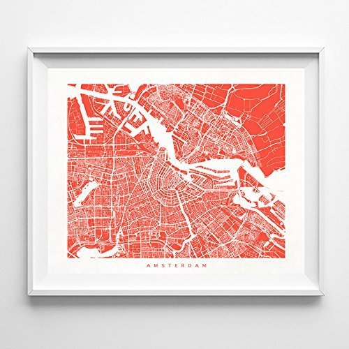 Amsterdam The Netherlands Street Road Map Poster Wall Art Pr