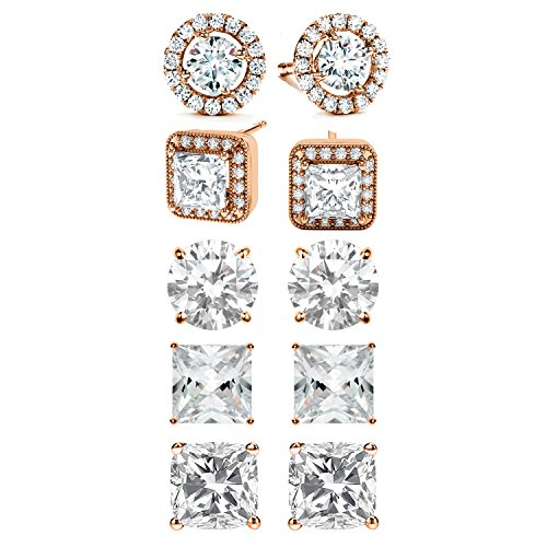 SPECIAL OFFER: 5-Piece Womens Classic Cubic Zirconia Stud Earrings Set (Rose Gold)