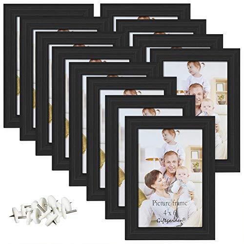 Giftgarden 4x6 Picture Frame Black Photo Frames Wall Tabletop, Set of (Black Frame Part)