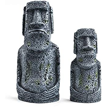Niteangel Ancient Easter Island Stone Head Aquarium Ornament, Fish Tank Decoration Accessories