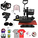 ShareProfit Heat Presses Hat Press Heat Press Machine for T Shirts 6 in 1 Multifunctional Transfer Sublimation T Shirt Press Machine (6 in 1)