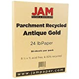 JAM PAPER Parchment Paper - 8 1/2'' x 11'' - 24lb Antique Gold Recycled - 50 Sheets/pack