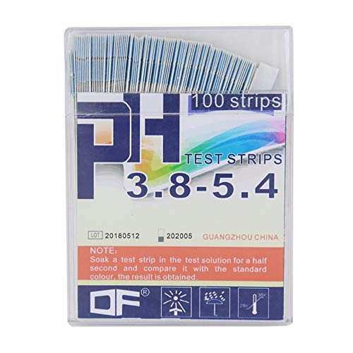 OBELLA BOUTIQUE 100 Strips Boxed Precision PH Test Strips Short Range 3.8-5.4 Indicator Paper Tester w/Color Chart 40% Off (Boxed Tester)