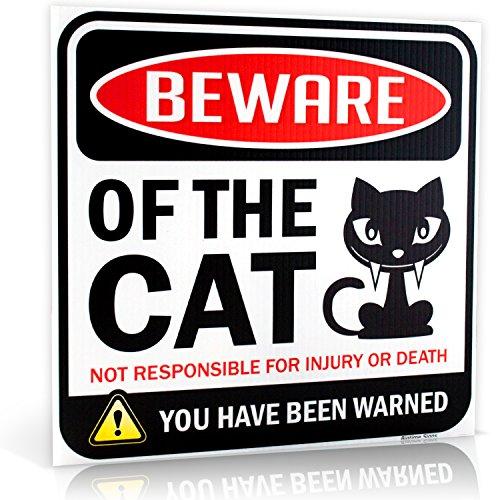 Black Tabby Cat - Beware of Cat Warning Sign | 12