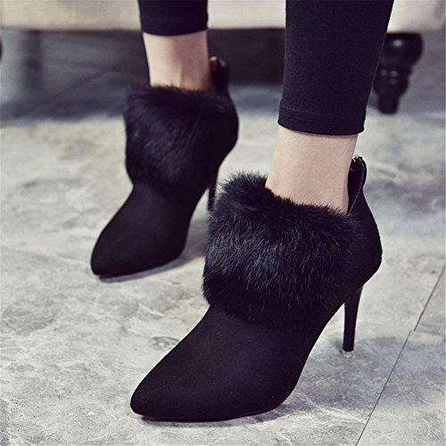 Heeled High Shoes Boots Short Zipper High Ladies Heels Back Pointed Low DIDIDD Shoes Eu 36 Work Cylinder Eq517xtww