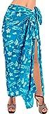 LA LEELA Soft Light Bathing Women Wrap  Sarong Printed 88''X42'' Bright Blue_2872