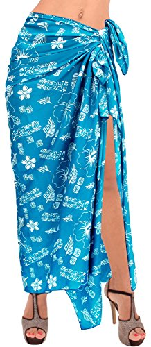 LA LEELA Soft Light Bathing Women Wrap  Sarong Printed 88''X42'' Bright Blue_2872 by LA LEELA