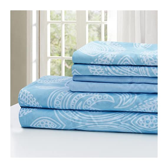 """Lux Decor Collection Bed Sheet Set - Brushed Microfiber 1800 Bedding - Wrinkle, Stain and Fade Resistant - Hypoallergenic - 6 Piece (Queen, Paisley Blue) - FEEL THE DIFFERENCE -Sleep better and wake up each morning feeling refreshed and full of energy. Silky soft, most comfortable and luxurious bed sheets you can find. Best for any room in your house - bedroom, guest room, kids room, RV, vacation home. Great gift idea for men and women, Moms and Dads, Valentine's - Mother's - Father's Day and Christmas. PERFECT FIT EVERYTIME GUARANTEED: Egyptian Quality Queen Size Sheet Set Made of high-strength microfiber yarns that will stay soft and wrinkle free for years to come TOP QUALITY CONSTRUCTION: : Queen Bed Sheet set 6 Piece Set: 90"""" by 102"""" flat sheet; 60"""" by 80"""" fitted sheet and Four 20"""" by 30"""" pillowcases. LIFETIME GUARANTEE -Lux Decor Collection is a different kind of company that prides itself in providing the absolute best customer service in the industry. If for any reason you decide that this bed sheet set is not for you, send 1 simple email and receive a 100% money-back refund, absolutely no questions asked - sheet-sets, bedroom-sheets-comforters, bedroom - 51sZTyP33nL. SS570  -"""