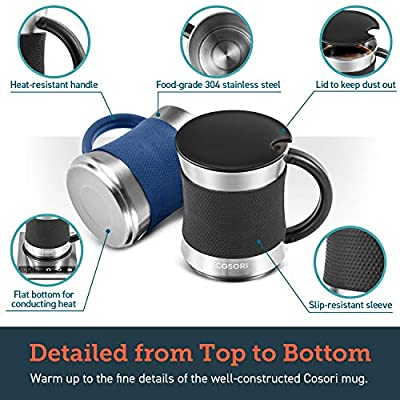 COSORI Coffee Mug with Lids Set of 2, Stainless Steel Cups with Heat-resistant Handle & Slip-resistant Sleeve, 17 oz, Best Match w/Mug Warmer, for Coffee,Tea,Water,Cocoa, Milk, C1601-CM, Black & Blue