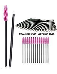 100 Pieces Disposable Eyebrow Eyelash Mascara Brush Lip Brush Eyeliner Brush Makeup Brush Tester Tool Kit Cosmetic Applicator Mascara Wands Set by Lemoncy (100pc)
