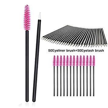 Amazon.com: 100 Pieces Disposable Eyebrow Eyelash Mascara Brush Lip Brush Eyeliner Brush Makeup Brush Tester Tool Kit Cosmetic Applicator Mascara Wands Set ...