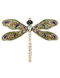 Ever Faith Antiqued Gold-Tone Austrian Crystal Vintage Inspired Dragonfly Brooch Pin