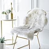 iisutas Faux Fur Sheepskin Rug,Fluffy Chair Seat Cover Floor Mat Carpet Area Rugs for Living Room - 2 ft x 3 ft, White with Grey Tips