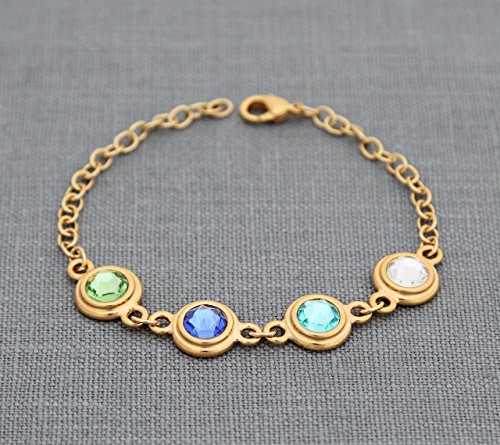 Mother's Day Bracelet, Personalized Grandmas Jewelry with Custom Birthstones in Gold