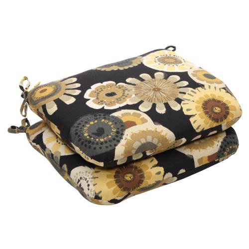 r/Outdoor Black/Yellow Floral Seat Cushion Round, 2-Pack (Floral Cushion)