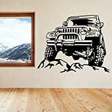 2016 NEW Jeeps Rock Car Racing Vinyl Wall Decal Art Sticker Man Cave Decor Boys Room Decorative Stickers Black Car size 72x57cm