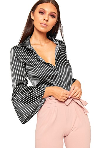 Satin Striped Button - WearAll Women's Satin Striped Print Button Long Flare Bell Sleeve Shirt Collar Top - Black - US 6 (UK 10)