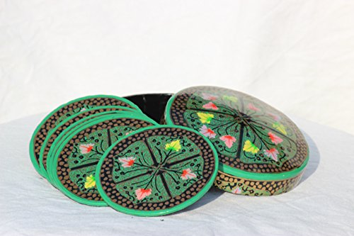 Coasters for Drinks,Vintage Ethnic Floral Design Fabric Coasters Value Pack, Decorative Painted Coasters Hand Crafted Paper Papier Mache Round Box 6 -