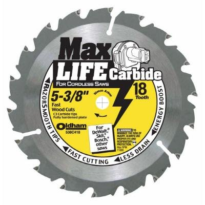Oldham 538C418 5-3/8-Inch 18T Carbide Saw Blade Max Life Fast