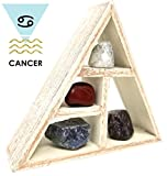 CANCER Zodiac Crystal Healing Set / Tumbled Stones and Wooden Geometric triangle shelf in Gift Box / Astrology Sign Cancer Birth Stones