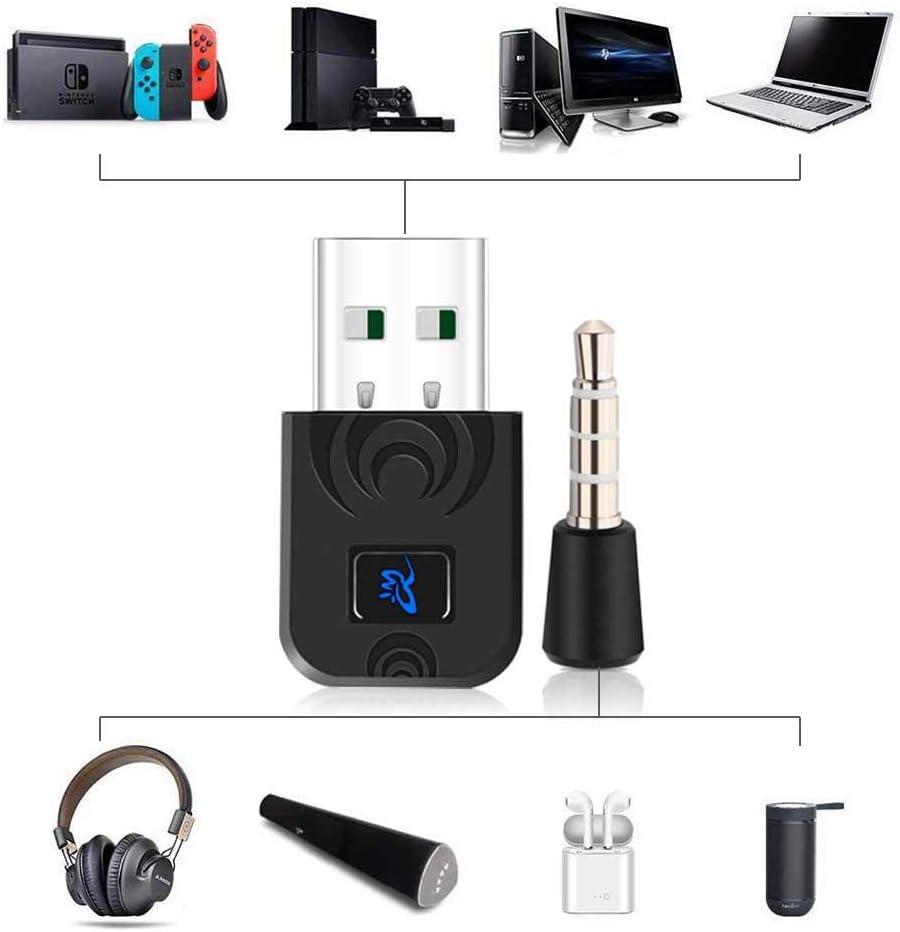TEEPAO Adaptador Bluetooth para Nintendo Switch, DN-A650 de baja latencia, tipo C, adaptador de voz de audio inalámbrico, transmisor Dongle, sin controlador para PS4, Nintendo Switch, PC, auriculares inalámbricos para juegos: Amazon.es: