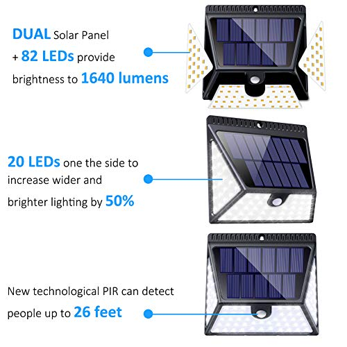82 LED Solar Lights Outdoor, LUSCREAL Motion Sensor Light Outdoor Wireless Waterproof Solar Powered Motion Sensor Security Light Solar Wall Lights Outdoor for Front Door, Yard, Deck, Porch, 4 Pack by LUSCREAL (Image #1)