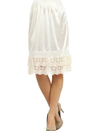 62cba66714e5 Melody Women's Extra Long Ivory Extender Slip Black Mocha Ivory at Amazon  Women's Clothing store: