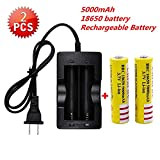 Best 5000 mAh 3.7V 18650 Battery(2PCS) with Fast Lithium Battery Charger, Protected Rechargeable Lithium Battery,Fit for Laser Pointer,Handheld Flashlight Torch,Headlight and Other Electronic Devices