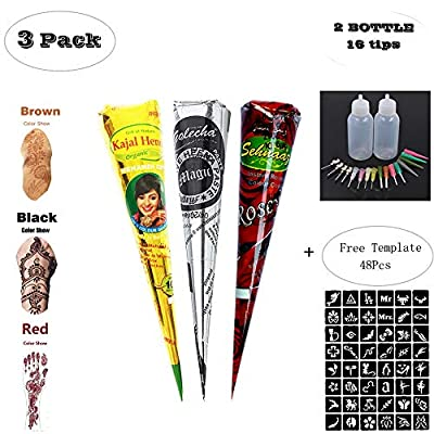 ZEYER 3 Tube Temporary India Tattoo Kit Paste Cone Temporary Brown Red Paste Cones for Body Art Drawing Painting with 48 x Adhesive Stencil Set