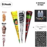 Temporary Tattoo Stencils Kits/Temporary Brown Red Tattoo Paste Cones for Body Art Drawing Painting with 2 x Applicator Bottle