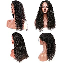 Suerkeep 8A Water Wave Virgin Brazilian Lace Front Wigs 150% Density Remy Weave Human Hair Lace Frontal Wigs With Pre-Plucked (22, Natural Color)