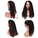Suerkeep 8A Water Wave Virgin Brazilian Lace Front Wigs 150% Density Remy Weave Human Hair Lace Frontal Wigs With Pre-Plucked (20, Natural Color)