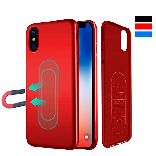 Case for iPhone X/XS,Ultra Thin Magnetic Phone Case for Magnet Car Phone Holder with Invisible Built-in Metal Plate,Soft TPU Shockproof Anti-Scratch Protective Cover for iPhone X/XS 5.8[Red