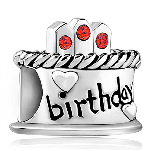 - Christmas Happy Birthday Cake Sterling Silver Charms July Birthstone Candles Beads Fits Bracelet