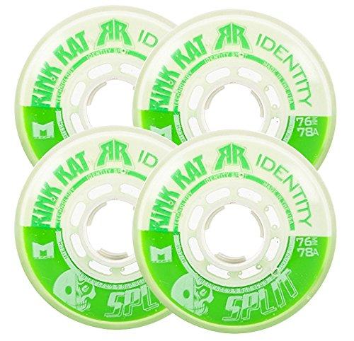 Rink Rat Wheels 72mm 78a Identity Split 4-Pack Green/White Inline Indoor Hockey