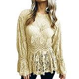 Bafaretk Fashion Womens Blouse Long Flare Sleeve Lace Tops Peplum O-Neck Solid T-Shirt (XL, Khaki)